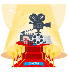 cinema on red carpet vector image vector image