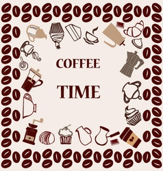 flat coffee tea set Coffee time vector image