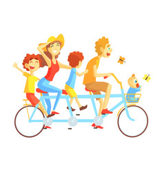 parents and kids on triple seat bicycle riding vector image vector image