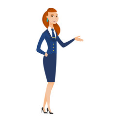 stewardess with arm out in a welcoming gesture vector image vector image