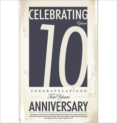 10 years anniversary retro background vector image vector image