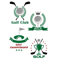 Golf game emblems with equipments and heraldic vector image