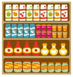 Grocery store shelves vector image