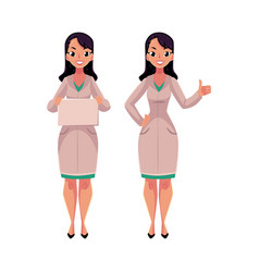 two woman doctors in medical coats blank board vector image