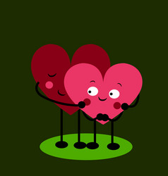 2 linked hearts with eyes vector