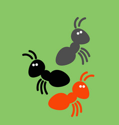 A bunch multicolored ants on green vector