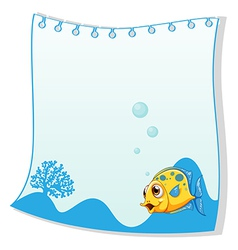 An empty paper with a yellow fish at the bottom vector
