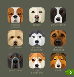 Animal faces for app icons-dogs set 5 vector