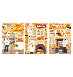 Bakery bread pastry desserts and confectionery vector