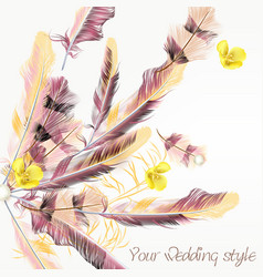 beautiful wedding background with pink feathers vector image