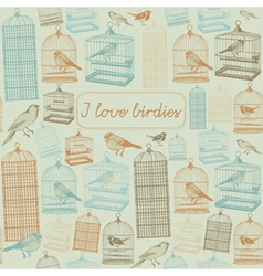 Birds and cages Seamless pattern vector image