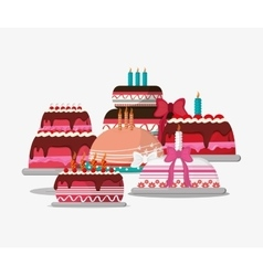 Birthday cake party related icons image vector