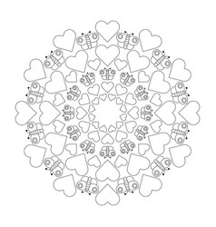 black and white circular round cute loving mandala vector image