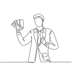business success concept one line drawing of vector image
