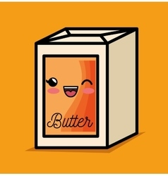 Butter kawaii breakfast cooking vector