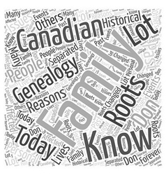 canadian genealogy Word Cloud Concept vector image
