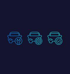 Car service repair line icons vector