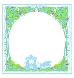 Carriage- vintage floral card vector