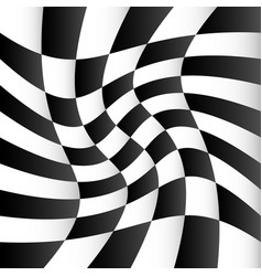 Checkered background with swirling distortion vector
