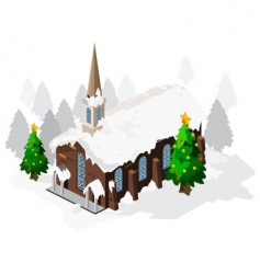church on Christmas vector image