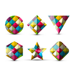 colorful 3d geometric shapes isolated on white vector image