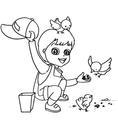 Coloring book child feeding bird vector