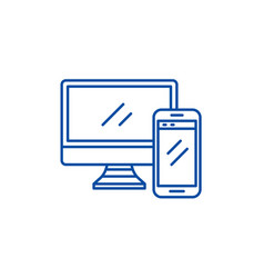 computer and smartphone line icon concept vector image