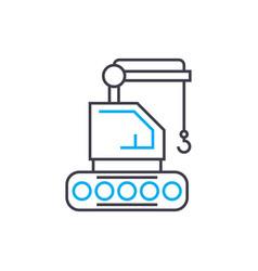 Crawler crane thin line stroke icon vector