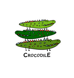 Crocodiles family sketch for your design vector