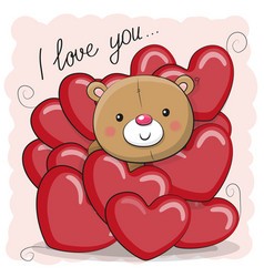 Cute teddy bear in hearts vector