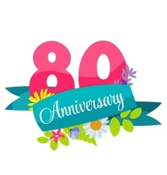 Cute Template 80 Years Anniversary Sign vector image