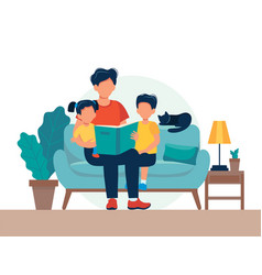 Dad reading for kids family sitting on sofa vector