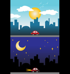 day and night view of a modern city vector image