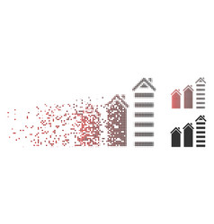 dissipated pixel halftone realty trend icon vector image