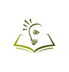 education logo design a book and idea bulb vector image