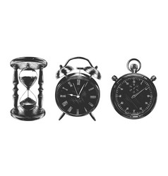 engraved vintage style clock collection for logo vector image