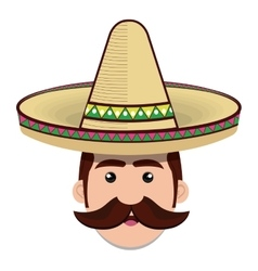 Face man mexican hat and moustache graphic vector