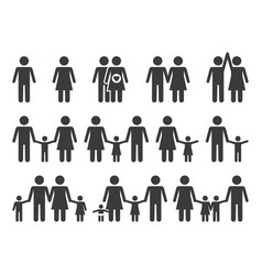 family icons monochrome people group pictograms vector image