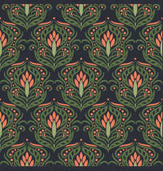 floral damask green seamless pattern vector image