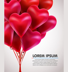 flying bunch of red balloon hearts valentines day vector image vector image