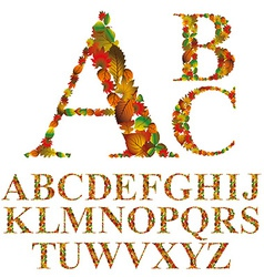 Font made with leaves floral alphabet letters set vector image