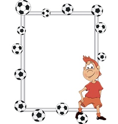 Frame with a soccer player cartoon vector image