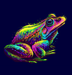 Frog abstract neon portrait a vector