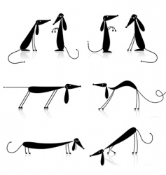 funny black dogs silhouette collection vector image