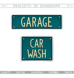 Garage car wash 3d signboard vector