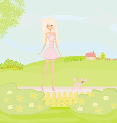 Girl and her puppy on rural landscape vector image