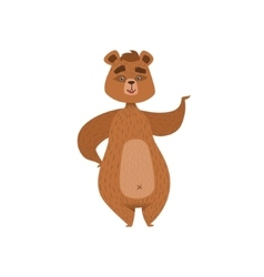 Girly cartoon brown bear character standing and vector