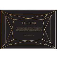 gold polygonal frame on a black background vector image