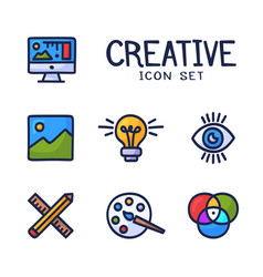 hand drawn creativity graphic and web design line vector image