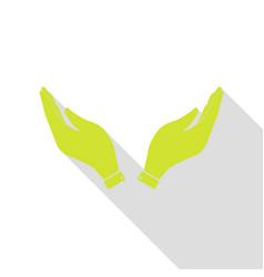 hand icon prayer symbol pear icon vector image